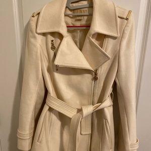 Cream Michael Kors belted wool coat